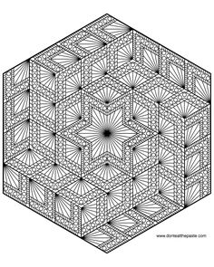 Diamond hexagon geometric mandala to color- also available in a larger transparent PNG.