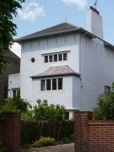 14 SOUTH PARADE. Bedford Park, London, 1891,  For J. W. Forster. Addition to the left by Voysey, 1894.