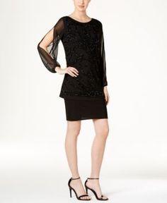 R & M Richards Embellished Popover Dress - Black 16
