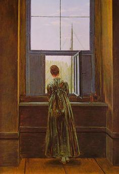 """Donna alla finestra"" di Caspar David Friedrich www.frammentiarte.it590 × 859Buscar por imagen Caspar David Friedrich: Donna alla finestra DONNA SU PIANOFORTE - Buscar con Google"