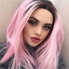 Women Pink Wigs Lace Front Hair Hot Pink Pixie Cut Pink And Grey Hair Color Nikita Dragun Pink Wig – cressral Blonde Hair With Pink Highlights, Pink Blonde Hair, Pink Ombre Hair, Pink Wig, Light Pink Hair, Ombre Wigs, Lace Hair, Synthetic Lace Front Wigs, Synthetic Wigs