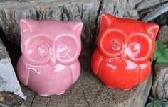 Ceramic  Owl Statue in  red or Pink   Baby by EnchantdMushroomLand