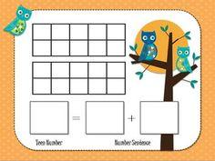Here's an owl-themed work mat for decomposing teen numbers. Kindergarten Addition, Math Addition, Addition And Subtraction, Kindergarten Math, Teaching Math, Maths, Number 0, Number Sense, 1st Grade Math