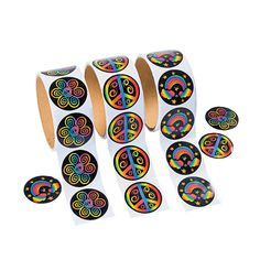 Rainbow Peace Roll Stickers - OrientalTrading.com