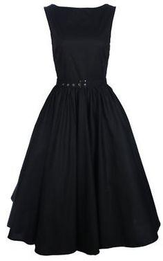 New black vintage 50s Audrey Hepburn style, swing-party, rockabilly evening dress: Amazon.co.uk: Clothing