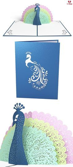 Gift a pop up card full of pastels with with paper art peacock. A perfect card for every occasion, say Happy Birthday, I'm thinking of you, or just say hello. #sendlove #birdlover
