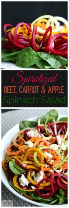 Spiralized Beet, Carrot & Apple Spinach Salad | Pook's Pantry Beet, Carrot and Apple Spinach Salad will quickly become your new fall favorite. Spiralized veggies on a bed on baby spinach, lightly dressed with a tangy vinaigrette. I've added a sprinkle of roasted pepitas for crunch and a handful of crumbled feta for extra deliciousness.