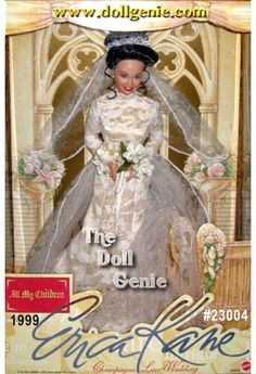 Erica Kanes got everything...beauty, charisma, power, and more. But her greatest desire is to be loved. Pine rnValleys ultimate queen of hearts, vows till death do us part - again in an unforgettable moment from ABCs award winning daytime soap, All my children.This one-of-a-kind Champagne lace Wedding doll celebrates Ericas rnromantic 1993 Spring wedding to handsome, wealthy Dimitri Matrick at Pine Valleys Wildwind Estate. Every detail of this daytime legends wedding ensemble has been ...