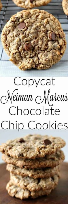 Copycat Neiman Marcus Chocolate Chip Cookies: possibly the best chocolate chip cookies I have ever made. Desserts With Chocolate Chips, Oatmeal Chocolate Chip Cookie Recipe, Chocolate Cookies, Chocolate Recipes, Neiman Marcus Chocolate Chip Cookies Recipe, Chocolate Chocolate, Healthy Chocolate, Oatmeal Cookies, Köstliche Desserts