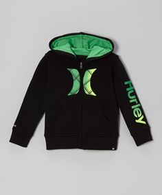 Take a look at this Black & Green Zip-Up Hoodie - Toddler & Boys by Hurley on #zulily today!