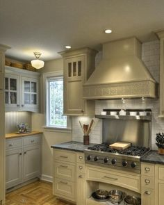 Beige cabinets and appliances are a nice alternative to bright white. Everything is still crisp and clean looking, but a little less severe.
