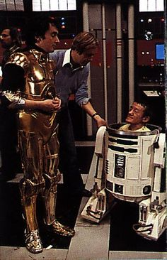 "Behind the scenes/""Star Wars"" -  Anthony Daniels & Kenny Baker in costume as R2D2 and C3P0"