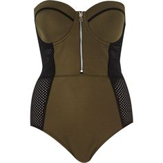 River Island Khaki mesh insert swimsuit ($70) ❤ liked on Polyvore featuring swimwear, one-piece swimsuits, swimsuits, tops, bikini, bodysuit, khaki, swimwear / beachwear, women and swim suits