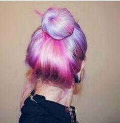 Dip dye purple/pink on beach blonde hair