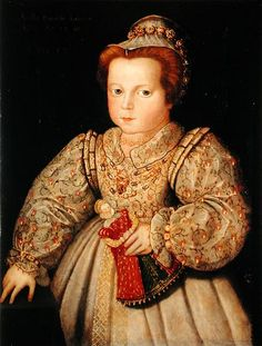 A portrait of a child, likely Arbella Stuart. Arbella was Bess, Countess of Shrewsbury's grandchild and ward. Bess hoped that Queen Elizabeth I would name her Stuart/Tudor relation Arbella as her successor. Elizabeth I, Tudor History, British History, Uk History, Dinastia Tudor, Mary Tudor, Margaret Tudor, Tudor Dynasty, Portraits