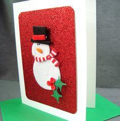 Snowman Holiday Card - Christmas Card - Frosty the Snowman - Mistletoe