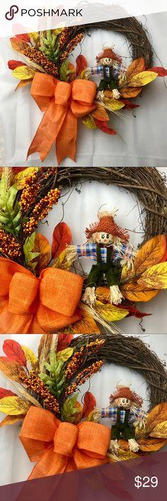 "Fall Scarecrow Wreath~Halloween~Thanksgiving~Decor Celebrate the season with this gorgeous handmade Wreath by Pennsylvania artist Alyson C Laskas!measures approximately 17x17x6"" Other"