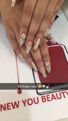 Birthday coffin ballerina stones jewels rhinestone bling long nails