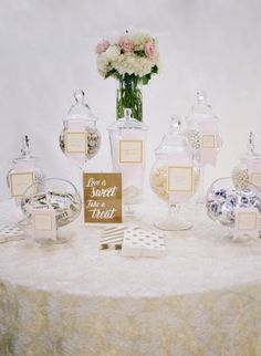 sweet treat candy dessert table for favors  from DC Garden Wedding at Fairmont Hotel | Photo: Hannah Hudson Photography