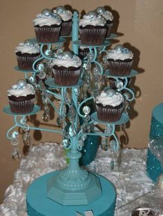 Lovely cupcakes at a Tiffany's party!  See more party ideas at CatchMyParty.com!  #partyideas #tiffanys