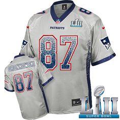 ... Jersey Fadeaway 87 NFL New England Patriots Nike Cheap Sale  Nike  Patriots 87 Rob Gronkowski Grey Super Bowl LII Mens Stitched NFL Elite  Drift Fashion ... 556e07124