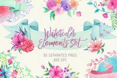 Watercolor Floral Elements Set Floral Logo by KatyaErisovaStudio