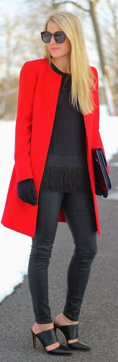 Red Coat like this! no collar , straight shape... maybe hidden buttons