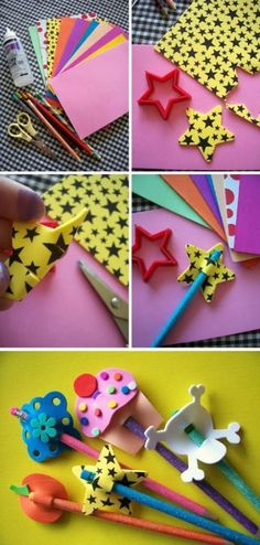 Manualidad: Decora tus lápices para la vuelta al cole con adornos de goma EVAClown Crafts A white sheet of paper drew the face of a clown then painted Kids Crafts, Foam Crafts, Diy And Crafts, Arts And Crafts, Paper Crafts, Foam Sheet Crafts, Diy Y Manualidades, Pencil Toppers, Kids And Parenting