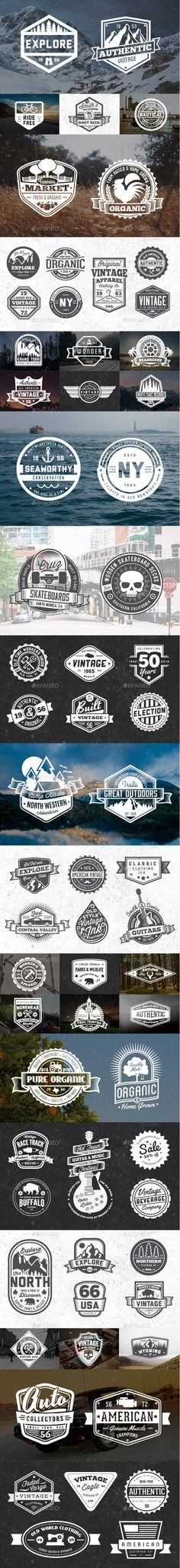 65 Vintage Badges and Logos Bundle - Badges & Stickers Web Elements