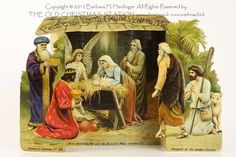 THE OLD CHRISTMAS STATION - Peace On Earce Good Will to Men :: antique Fold-out Nativity :: Germany :: lithographed paper :: Dresden Paper :: antique cotton ornament :: German Christmas decoration :: cotton batting :: Heubach :: old :: early :: victorian :: vintage :: figural glass ::