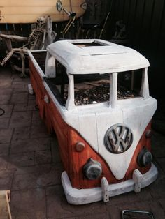 These hand crafted VW Bus driftwood benches are one of a kind!! They come fully assembled with a whole lot of love and dedication poured in to them. Each Bench can fit between 2-3 people with a storag