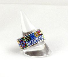 Portugal Antique Azulejo Tile Replica Ring SAUDADE Stainless Steel individually Placed US size 10.5, UK U 1/2, 20.20mm