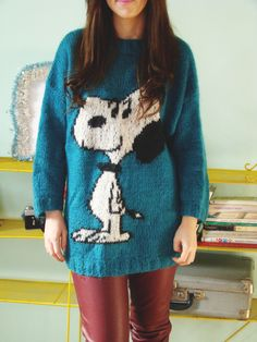 Vintage 80's Snoopy Jumper Turqoise Knitted Sweater. $22.00, via Etsy.