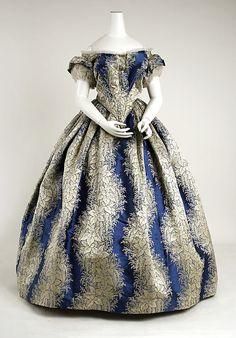 Dress, Evening  Date: 1855–58 Culture: American Medium: silk Dimensions: (a) Length at CB: 12 in. (30.5 cm) (b) Length at CB: 44 in. (111.8 cm)
