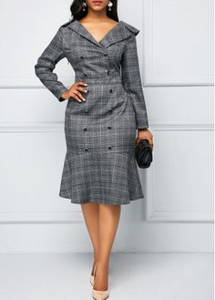 Rosewe Women Dress Grey Plaid V Neck Button Front Sheath Work Frill Hem Printed V Neck Button Front Dress African Dresses For Women, African Fashion Dresses, Fashion Outfits, Dress Fashion, Fashion Black, Fashion Fashion, Fashion Ideas, Vintage Fashion, Fashion Trends
