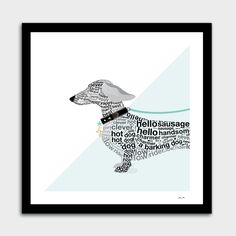 Typographic Dachshund Portrait by Dominique Vari - Typographic Art, Art Prints, Photography For Sale, Giclee Art Print, Curioos, Soul Art, Creative Art, Portrait, Portrait Art