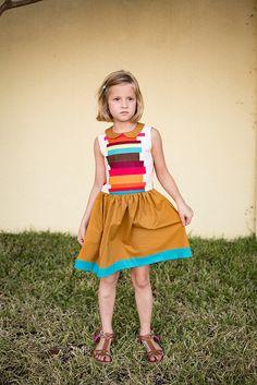 beautiful hanami dress in fallish colors // stitched together