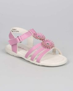 New-Girl-EC11-Leatherette-Open-Toe-Flower-T-Strap-Velcro-Sandal-Size-4-8