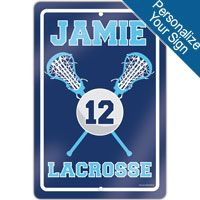 """Create a lacrosse theme in any room with this 18"""" X 12"""" aluminum room sign. We can personalize this sign with your lacrosse players information! A great gift for an avid lacrosse player, fan, or coach!"""