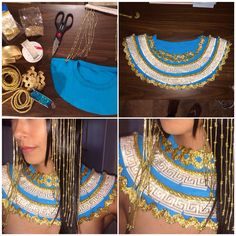 DIY CLEOPATRA COSTUME -- DIY beaded headpiece and embellished neck piece accessories. I made these statement pieces first from scratch! Costume Halloween, Halloween 2019, Diy Costumes, Fall Halloween, Halloween Party, Egyptian Party, Egyptian Diy Costume, Halloween Disfraces, Costume Makeup