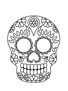 Click here to download the pdf for the sugar skull printable. Sugar Skull Pumpkin Template ...