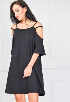 Letnia, lekka sukienka z odkrytymi ramionami, Ona Odzież Sukienki | Sukienki.shop