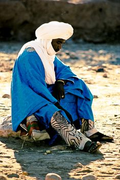 Africa:  Moor in blue and white clothing. Morocco by ryantron., via Flickr