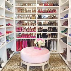 My DREAM closet brought to you by @rachparcell! I HAVE TO have leopard carpet in my closet. Like, it's a need. Fun fact: I am SO not a fashiony person but I have a mild obsession with shoes. I recently purged my shoes and I still have over 75 pairs.  Guys what do I even do??? This is not normal. #goals #dreamcloset