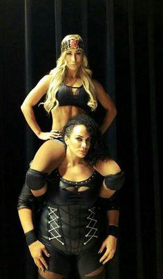 Carmella & Nia Jax.....2016....Two contenders vs. NXT/WWE Champion title holder.