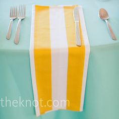 Real Weddings - A Vintage Wedding in Fairview, PA - Yellow and White Napkins