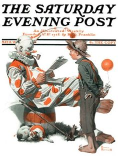"""Circus"" or ""Meeting the Clown"" Saturday Evening Post Cover, May 18,1918  Norman Rockwell"
