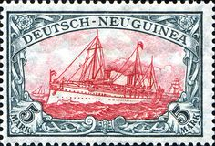 """German New Guinea 1914 Yacht, """"Hohenzollern II"""" Issue [MiNr 23 I A I, Sc 23] 5mk Green black and dark carmine  - Peace printing - 26:17 perforation - Type I center"""