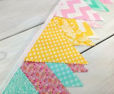 Bunting, Fabric Banner, Fabric Flags, Girl Nursey Decor, Floral - Mint Green, Yellow, Pink, Aqua Blue, Chevron and Flowers