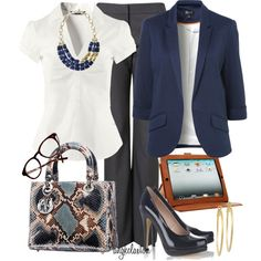 Nice work outfit like the combination Business Outfits, Business Attire, Office Outfits, Business Fashion, Casual Outfits, Cute Outfits, Fashion Outfits, Work Outfits, Navy Outfits